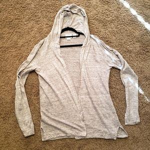 Cynthia Rowley Linen Cardigan Open Front Hooded